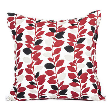 """Blooming Home Decor - Red & Black Branch Leaf Pattern Accent Throw Pillow Cover 16""""x16"""" - - 16"""" square"""