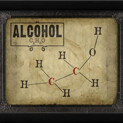 The Artwork Factory - Alcohol Molecule Framed Artwork - Ready-to-Hang, 100% Made in the USA, museum quality framed artwork