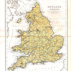 England & Wales Map 1871 Vintage Victorian Era by SurrenderDorothy
