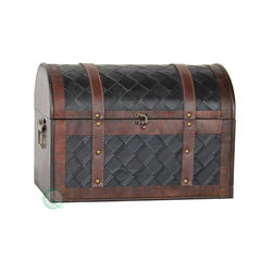 Quickway Imports - Wooden Leather Treasure Chest - Decorative trunk that is great for storage and decoration Great Treasure Box Small wood trunk Old Fashioned hardware adds to antique look Our warm and welcoming steamer trunk brings back days of old time. Remember how excited you are when you were a little kid to look into your grandma's old chest, our decorative trunks will bring back those memories and help you create some new ones too. Our hope chest boxes are all handcrafted and tailored to enhance the existing decor of any room in the home. Great to use for your very own treasure chest!