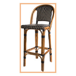 French Bistro Barstool with Back - Black/Cream - These beautiful woven bar stools were inspired by traditional French bistro chairs. The use of black and cream in the weaving provides a striking color contrast.
