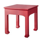Three Hands Coral Accent Table - At a price point under $100, this Asian-inspired coral lacquered table is hard to pass up.