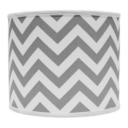 """Lamps Plus - Transitional Gray and White Drum Lamp Shade 16x16x13 (Spider) - Refresh any lamp with this chic chevron lamp shade in a soft gray and white color pattern. A hardback drum shape is lined with polystyrene in the interior and cotton material in the exterior. A chrome spider fitter completes the look. The correct size harp is included. Large drum lamp shade. Gray and white chevron design. Hardback shade design. Chrome spider fitter. Cotton material. Unlined. 1/2"""" fitter drop. 16"""" across the top and bottom. 13"""" high. Made in USA.   Large drum lamp shade.  Gray and white chevron design.  Hardback shade design.  Chrome spider fitter.  Cotton material.  Unlined.  Made in USA.  1/2"""" fitter drop.  16"""" across the top and bottom.  13"""" high."""