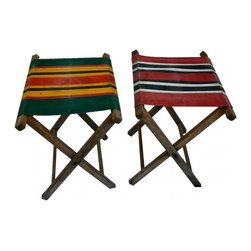 Camp Stools - A pair of old bright striped camping or fishing stools.  The look great on the deck in the yard or they would be fun to use for the kids play area.  A few little stains on the canvas but they are actually very clean and in great condition.