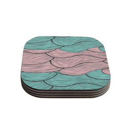 "Kess InHouse - Pom Graphic Design ""Summerlicious"" Green Pink Coasters (Set of 4) - Now you can drink in style with this KESS InHouse coaster set. This set of 4 coasters are made from a durable compressed wood material to endure daily use with a printed gloss seal that protects the artwork so you don't have to worry about your drink sweating and ruining the art. Give your guests something to ooo and ahhh over every time they pick up their drink. Perfect for gifts, weddings, showers, birthdays and just around the house, these KESS InHouse coasters will be the talk of any and all cocktail parties you throw."