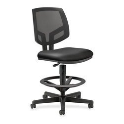 HON - HON Volt Mesh/Leather Task Stool with Footring - Black - Leather Black Seat - Volt task stool offers a unique combination of style, scale, comfort and functionality. Its real value is in its flexibility with the ability to work in virtually any environment. Generously proportioned seat cushion and natural cooling of a mesh back are welcoming to every body. Adjustable footring and extended 360-degree swivel allow movement in any direction. The footring adjusts in height easily with a simple knob for the best position for your legs and feet. Pneumatic seat-height adjustment ranges from 23-7/8 to 32-3/8. The five-star base includes 2-1/2 dual-wheel, hooded casters for easy chair movement. The cushioned seat is covered in durable leather. Seat measures 19 wide x 18 deep. The back size is 18 wide x 18-1/2 high. Stool also features a plastic outer back, and frame is available in black only. Stool meets or exceeds applicable ANSI/BIFMA requirements.