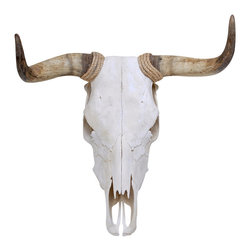 """Society Style - Spanish Fighting Bull Skull Wall Decal - It's 1923 and you're sitting at a cafe in Spain. You're sitting with Hemingway and laughing about your recent run with the bulls. """"That Toro Bravo didn't stand a chance!"""" you exclaim over a half-empty glass of whiskey. Hemingway nods approvingly and you're the coolest person alive...Okay maybe not, but put this Spanish fighting bull skull wall decal in your lounge next to your copy of A Moveable Feast and you might be able to convince everyone it's a true story. (This is an adhesive wall decal and not a real animal mount)"""