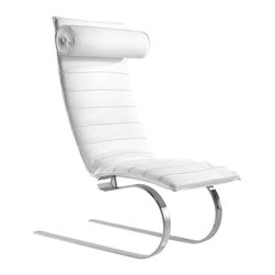 Fine Mod Imports - Pika 20 Lounge Chair in White - Contemporary style. Leather seat and back. Smoothly curved steel legs. Warranty: One year. No assembly required. Seat height: 14.6 in.. Overall: 32 in. W x 30 in. D x 35 in. H (60 lbs.)Sleek looking chair, elegant yet comfortable to relax in. Rounded legs allow slight rocking movement while relaxing in the pika 20 lounge chair.