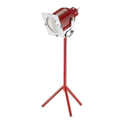 Adesso - Adesso Starlet LED Desk Lamp, Red - Red shiny metal mini 5 Watt LED studio desk lamp has vented metal shade with a chrome-plated protective grill. The shade adjusts vertically, and sits atop a single pole that extends from the tripod base. On/off toggle switch. 13 in to 14 in Height, 5.5 in Tripod base. CRI: 80; Color Temp: 4000K: 620 Lumens.