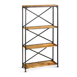 Monacco Etagere - Rustic iron bars in a simple, practical arrangement support the wooden shelves of the Monacco Etagere, an open-walled display surface that hints at architectural inspirations with its sensible rivets and attractively-detailed feet. A perfect mix of industrial inspirations with countryside purity, the handsome shelf composes a harmony of metal and wood textures.