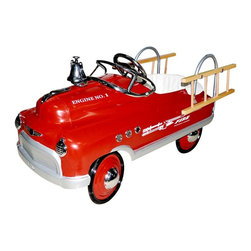 Airflow Collectibles - Airflow Collectibles Fire Truck Comet Pedal Riding Toy Multicolor - AFC114 - Shop for Tricycles and Riding Toys from Hayneedle.com! We can't guarantee that they won't put the cat in the tree so they can go back later and get the cat out but we're sure that your little fireman will love racing to and from the station in the Airflow Collectibles Fire Truck Comet Pedal Riding Toy. The charming vintage style of this fire-truck is combined with the most robust construction available to give them something that they'll be able to love and use for years. The retro-inspired metal body has a lead-free powder-coat finish with plenty of chrome providing the accents on the hubcaps lights windshield insignia working bell and side vents. High-traction tires will grab the road while the non-slip pedals will stay right under their feet while they're cruising. You'll hear them coming as they ring the bell and a pair of removable ladders will let them use their imagination as they keep the neighborhood safe. A padded seat adds comfort and the pedal assembly has five different positions allowing you to get the safest and most comfortable fit for your little firefighter.About Airflow CollectiblesAirflow Collectibles is an Orange Calif.-based company that specializes in the reproduction of vintage children's toys. The streamlined steel tricycles pedal cars and pedal plane replicas have an identical look and feel to the quality toys that were popular in America in the 1930s 40s and 50s. Airflow tricycles aren't merely retro-inspired; they are genuine recreations of beloved heirlooms. Each vehicle is painted with lead-free paint and has been safety tested and approved in the U.S.A.