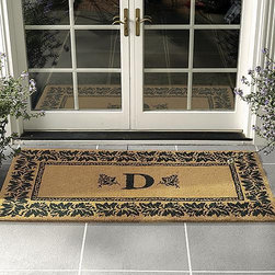 """Frontgate - Vineyard Outdoor Coco Door Mat - 36"""" x 72"""" - Frontgate - Densely hand-woven of long-wearing natural coir fibers. Mildew-resistant. Naturally absorbs dirt and water. Non-skid backing locks fibers in place to minimize shedding. Measures 1-1/2"""" thick. Our Vineyard Outdoor Coco Door Mat graces your entryway with a personal touch. Your single-initial monogram is bordered by abundant grapevine leaves on this hand-crafted mat that is as durable as it is impressive.. . . . . Easy to clean: simply rinse off with a hose."""