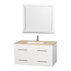 Wyndham Collection - Centra Bathroom Vanity in White,Ivory Marble Counter,UM Sink,36 in. Mirror - Simplicity and elegance combine in the perfect lines of the Centra vanity by the Wyndham Collection. If cutting-edge contemporary design is your style then the Centra vanity is for you - modern, chic and built to last a lifetime. Available with green glass, pure white man-made stone, ivory marble or white carrera marble counters, with stunning vessel or undermount sink(s) and matching mirror(s). Featuring soft close door hinges, drawer glides, and meticulously finished with brushed chrome hardware. The attention to detail on this beautiful vanity is second to none.