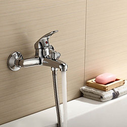 Bathroom Sink Faucets - Chrome Finish - Solid Brass Contemporary Bathroom Tub Faucet--faucetsmall.com