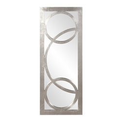 Howard Elliott - Dynasty Rectangular Bright Silver Leaf with Mirror - Our Whimsical Dynasty mirror is finished in Silver features Circular Overlay.