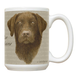 505-Chocolate Lab Mug - 15 oz. Ceramic Mug. Dishwasher and microwave safe It has a large handle that's easy to hold.  Makes a great gift!