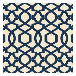 Blue Velvet Flocked Trellis Fabric - Blue velvet flocked trellis in on cream cotton that adds subtle texture & warmth to your room.Recover your chair. Upholster a wall. Create a framed piece of art. Sew your own home accent. Whatever your decorating project, Loom's gorgeous, designer fabrics by the yard are up to the challenge!