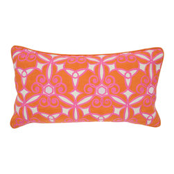 "Villa - Ferah Pink Pillow Set of 2 - The Ferah pillows boast a sensational palette of bright pink, zesty orange and notes of red dancing playfully against a natural background. These European-style throw pillows add spirit to a sofa, bed or chair in a modern kaleidoscope of pattern.  14"" x 26""; Set of two; 55% linen/45% cotton; Includes 95/5 feather down pillow insert; Hidden zipper closure; Hand wash"