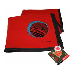 Healthy Living Products, LLC - Haida Wool Blanket - Moon Design on Red Wool - Kanata offers our premium quality wool blanket embroidered with Robert Davidson