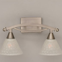 Toltec Lighting - Bow Brushed Nickel Two-Light Bath Bar with Italian Bubble Glass - - 7 Italian Bubble Glass   - Bulbs not included Toltec Lighting - 172-BN-451