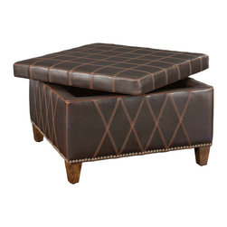Uttermost - Uttermost 23005 Wattley Double Stitched Storage Ottoman - Uttermost 23005 Wattley Double Stitched Storage Ottoman