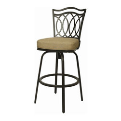 """Pastel Furniture - Pastel Furniture Westport Outdoor Barstool - The Westport 30"""" height outdoor swivel barstool with aluminum frames with cast aluminum back upholstered in Sunbrella Fabric. This beautifully designed outdoor barstool with its engaging mix of color and texture will take your outdoor living to a whole new place."""
