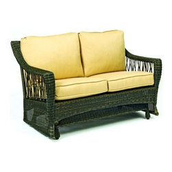 Woodard - Serengeti Gliding Loveseat (Thayer) - Fabric: Thayer. Wicker frame. Seat Height: 18.3 in. H. 55 in. W x 32.8 in. D x 33.5 in. H. All products are made to order. Orders cannot be cancelled after 5 calendar days. If order is cancelled after 5 calendar days, a 50% restocking fee will be applied.