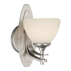 Vaxcel Lighting - Vaxcel Lighting Sebring Transitional Wall Sconce X-NB100ULV-ES - A fixture of upscale proportions! The Sebring wall sconce is presented in the all desirable Brushed Nickel finish. With affection, the two arms extend from the back plate to secure the round, wide glass.
