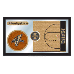 "Holland Bar Stool - Holland Bar Stool Idaho Basketball Mirror - Idaho Basketball Mirror belongs to College Collection by Holland Bar Stool The perfect way to show your school pride, our basketball Mirror displays your school's symbols with a style that fits any setting.  With it's simple but elegant design, colors burst through the 1/8"" thick glass and are highlighted by the mirrored accents.  Framed with a black, 1 1/4 wrapped wood frame with saw tooth hangers, this 15""(H) x 26""(W) mirror is ideal for your office, garage, or any room of the house.  Whether purchasing as a gift for a recent grad, sports superfan, or for yourself, you can take satisfaction knowing you're buying a mirror that is proudly Made in the USA by Holland Bar Stool Company, Holland, MI.   Mirror (1)"