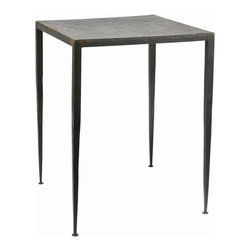 Arteriors - Hogan End Table - If you're a contemporary purist, an industrial lover or an eclectic decorator this end table is for you. The burnt, hammered iron tapered legs and top take no prisoners. Clean, sleek and elegant, it whispers. It doesn't need to shout.