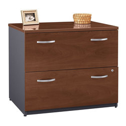 BBF - BBF Series C 36W 2-Drawer Lateral File - BBF - Filing Cabinets - WC24454A - Expand your office with the BBF Series C 2-Drawer Lateral File. Matching height to Series C desks to expand your work surface, the Lateral File provides a convenient work and storage solution. File drawers accommodate letter, legal, and A4 file sizes. Full-extension ball bearing slides allow full access, and interlocking drawers prevent tipping. Attractive finish and stylish lines match other pieces in the Series C collection to allow you to expand your office as your needs evolve. Solid construction meets ANSI/BIFMA test standards in place at time of manufacture; this product is American Made and is backed by BBF 10-Year Warranty.