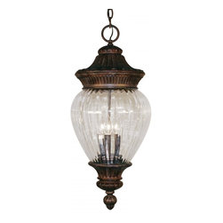Two Light Weathered Bronze Clear Ribbed Optic Glass Hanging Lantern - Sophisticated and classic, this medium outdoor chain hung fixture is a truly elegant piece. Comprised of cast aluminum (which can endure all seasons), this fixture uses clear beveled glass a combination with a fixture that is highly detailed and finished in weathered bronze, to create a tribute to classic elegance. Select parts of this fixture are hand cast in order to ensure the overall strength of this wonderful fixture.