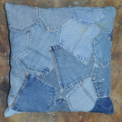 Loloi Rugs - Loloi Rugs Runway Collection - Denim Pockets, 2' x 2' Pillow - It's casual, chic and the perfect fit for any stylish room. Made in India, these hand-stitched, supple denim rugs are crafted from vintage blue jeans and vintage denim shirts. Choose from four styles: Denim Shorts, Denim Full, Denim Sleeves and Denim Pockets. Also ask about cool beanbags, poufs, stools and pillows.