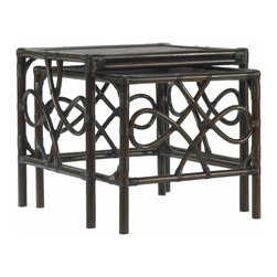 Selamat Designs - Selamat Designs Clove Elise Nesting Tables, Set of 2 - Clove Elise Nesting Tables, Set of 2Give your home an island feel with this set of Clove Elise Nesting Tables by Selamat Designs. Rattan poles in a rich clove finish are joined by wrapped leather in a rectangular form and bends into a looped pattern on two sides of the tables. Lightweight and easy to fit anywhere, this set of matching nest tables will bring an air of sophistication to any room they're in. Set of 2 tablesMade in IndonesiaCertified green by the Sustainable Furnishings Council