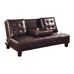 Coaster - Armless Convertible Sofa Bed in Brown Faux Le - Armless sofa. Modern tufting on the deep seat and back. Drop down center console offers a table surface and built in cup holders. Back cushion easily drops to convert to a bed for nighttime. Dark brown color. Seat height: 16.50 in.. Sofa: 71 in. L x 35.50 in. W x 36 in. H. Sofa bed: 71 in. L x 45 in. W. WarrantyThis stylish contemporary sofa bed will be a wonderful addition to your home. Make the most of your space with this multi-functional piece.