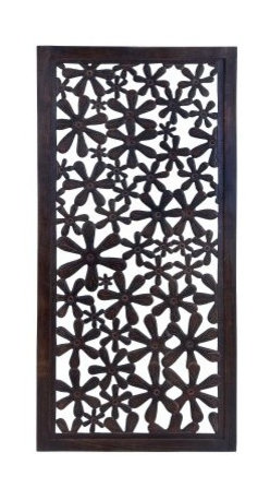 High Gloss Decorative Wooden Wall Panel - 24W x 51H in. - That lonely wall in your home or apartment is just waiting to blossom - thank you, High Gloss Decorative Wooden Wall Panel - 24W x 51H in. Perfect for anywhere from the kitchen to the bedroom to the family room, this wall panel is crafted of well-seasoned wood with a high-gloss brown lacquer finish. The cutout pattern features dozens of daisy-like blooms, and the wall panel comes complete with installation hooks.