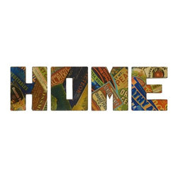 iMax - Vintage Home Sign Wall Decor, Set of 4 - With graphic, retro seed packet renderings, the vintage Home wall decor is a set of oversized letters that look great in any country kitchen.