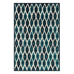 """Loloi Rugs - Loloi Rugs Catalina Collection - Peacock / Ivory, 9'-2"""" x 12'-1"""" - Made of very weather-resilient polypropylene, the Catalina Collection features indoor/outdoor rugs with bold patterns and can't-miss, vibrant colors that look amazing in indoor or outdoor spaces. Each design is power loomed in Egypt and tested withstand UV rays and sunshine."""
