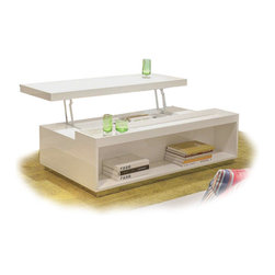 MODERN WHITE TRANSFORMING COFFEE TABLE SANDA - Sanda is a modern and functional coffee table. It has a lifting top and a spacious storage in the basement. The top can be pulled up easily and used as a convenient tray. The Sanda coffee table is finished in a glossy white lacquer and has a an extra storage niche at one of the sides of the base.
