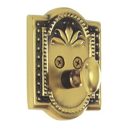 Nostalgic Warehouse - Nostalgic Meadows Single Cylinder Deadbolt Keyed Alike in Antique Brass (726061) - The antique brass Meadows Single Cylinder Deadbolt, with its intricate beaded detailing and botanical flourishes, creates an inspired design theme. Keyed alike. Made of solid (not plated) forged brass for durability and beauty.