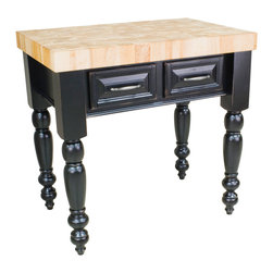 "Inviting Home - Saratoga Kitchen Island (distressed black) - kitchen island in distressed black finish; 36""W x 24""D x 36""H; 3"" hard maple butcher block top included; Saratoga kitchen island in distressed black finish. There are two fully functional drawers and a false panel on the reverse. Kitchen island features soft close under-mount slides on drawers and turned kitchen island legs (legs knockdown). 3"" hard maple butcher block top included and comes preassembled."