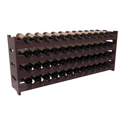 Wine Racks America - 48 Bottle Scalloped Wine Rack in Redwood, Burgundy Stain + Satin Finish - Stack four cases of wine in a decorative 48 bottle rack using pressure-fit joints for easy assembly. This rack requires no hardware, no tools, and is ready to use as soon as it arrives. Makes for a perfect gift and stores wine on any flat surface.