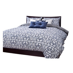 SIS Covers - SIS Covers Edgewater Blue Duvet Set - 6 Piece Full Duvet Set - 5 Piece Twin Duvet Set Duvet 67x88, 1 Std Sham 26x20, 1 16x16 dec pillow, 1 26x14 dec pillow. 6 Piece Full Duvet Set Duvet 86x88, 2 Std Shams 26x20, 1 16x16 dec pillow, 1 26x14 dec pillow. 6 Piece Queen Duvet Set Duvet 94x98, 2 Qn Shams 30x20, 1 16x16 dec pillow, 1 26x14 dec pillow. 6 Piece California King Duvet Set Duvet 104x100, 2 King Shams 36x20, 1 16x16 dec pillow, 1 26x14 dec pillow6 Piece King Duvet Set Duvet 104x98, 2 Kg Shams 36x20, 1 16x16 dec pillow, 1 26x14 dec pillow. Fabric Content 1 70 Polyester 30 Cotton. Guarantee Workmanship and materials for the life of the product. SIScovers cannot be responsible for normal fabric wear, sun damage, or damage caused by misuse. Care instructions Machine Wash. Features Reversible Duvet and Shams.