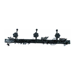 """Renovators Supply - Hooks Wrought Iron Black Rose 22 1/4"""" Hook Rack - Our Triple Hook is most popular in entryways for coats, on bathroom doors for towels and robes. Our exclusive RSF  coating protects this item for years to come. Clean up and get organized with a triple hook or get several to hang side-by-side. They look fantastic in either a contemporary bathroom & kitchen or a Victorian hallway. Hand-forged wrought iron."""