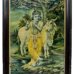 Consigned Antique Consigned Krishna Print - This is a 1930 print of Krishna as Bal Gopal (Kid cow boy) with original wood frame. This beautiful print most likely came from a Hindu household from Gujrat state of India. These old prints of Gods and Goddesses were very popular.