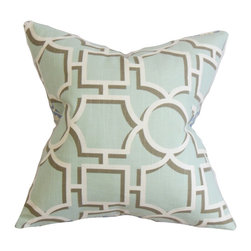"The Pillow Collection - Ono Geometric Pillow Aqua 18"" x 18"" - This cushy throw pillow brings dimension to your living room or bedroom. Printed on an aqua blue background a geometric pattern in white and gray color combination is highlighted in this square pillow. This square pillow lends a modern chic look to your sofa, bed or sectional. This accent pillow comes in other hues such as gray, yellow and orange. Made in the USA and uses 100% high-quality cotton fabric. Hidden zipper closure for easy cover removal.  Knife edge finish on all four sides.  Reversible pillow with the same fabric on the back side.  Spot cleaning suggested."