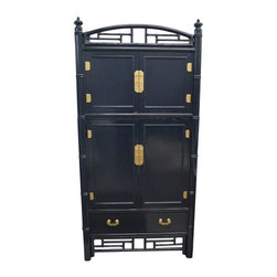 Used Ficks Reed Lacquered Cabinet - A large bamboo and rattan media cabinet that has been freshly lacquered in a deep blue with gilded hardware. The top cabinet opens up, while the bottom drawer pulls out for additional storage. The mid section is a media cabinet with two pocket doors that slide inside. Made by Ficks Reed, this versatile piece is in excellent vintage condition.