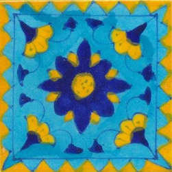 "Knobco - Tiles 4x4"", Blue & yellow flower under w/ yellow zig-zag border on turquoise - Blue and yellow flower under with yellow zig-zag border on turquoise tile from Jaipur, India. Unique, hand painted tiles for your kitchen or other tiling project. Tile is 4x4"" in size."