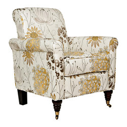ANGELOHOME - Portfolio Hyde Yellow Flower Arm Chair - The Hyde accent chair is part of the Portfolio Collection. The Hyde chair has a slightly rounded arm and is covered in a floral fabric.
