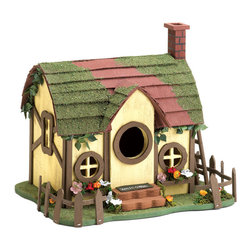 KOOLEKOO - Quaint Cottage Birdhouse - Heres a delightful cottage home for your fine feathered friends! The Quaint Cottage birdhouse is covered in charming details, including window boxes full of tiny faux flowers, a mossy roof, and creeping ivy crawling under the eaves. The birds in your yard will feel at home in this cozy little house with its chimney painted to look like brick and a tiny little welcome mat resting on the front steps.